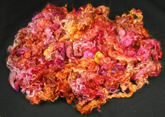 Wensleydale locks, hand painted fiber for spinning and felting, 3.7 oz