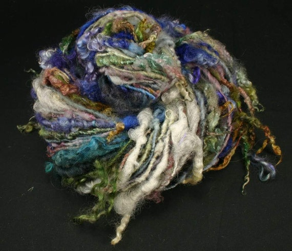 Handspun art yarn: Blue sea