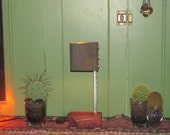Found Metal Artifact Accent Lamp on a Beautiful Hardwood Base