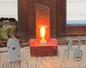 Iron Age Artifact Lamp with Vintage Style Light Bulb