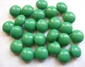 Vintage Jadeite Glass Cabochons Green 8mm QTY - 12