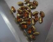 Vintage Swarovski Topaz Rhinestones in Brass Settings Navette 6x3mm QTY - 10 LAST ONES