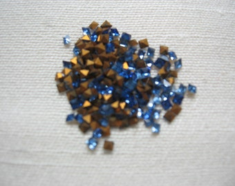 Vintage Swarovski light Sapphire Square Rhinestones 1.6mm QTY - 12