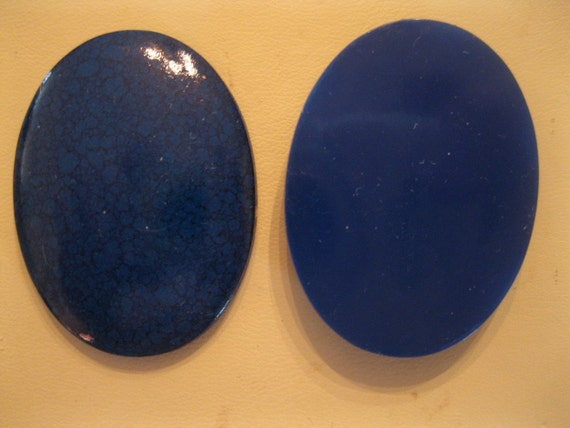 SALE Vintage Lapis Blue Black Resin Cabochons 40x30mm Qty - 7 LAST ONES
