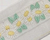 Vintage Organza Trim Lace Trim Embroidered Daisies Trim