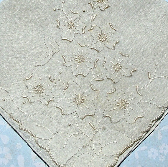 Bridal Hankie Wedding Hankie Antique Handkerchief Vintage Linen Hankie