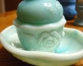 Avon Vintage Slag Glass Moonwind Powder Sachet with Soap Dish