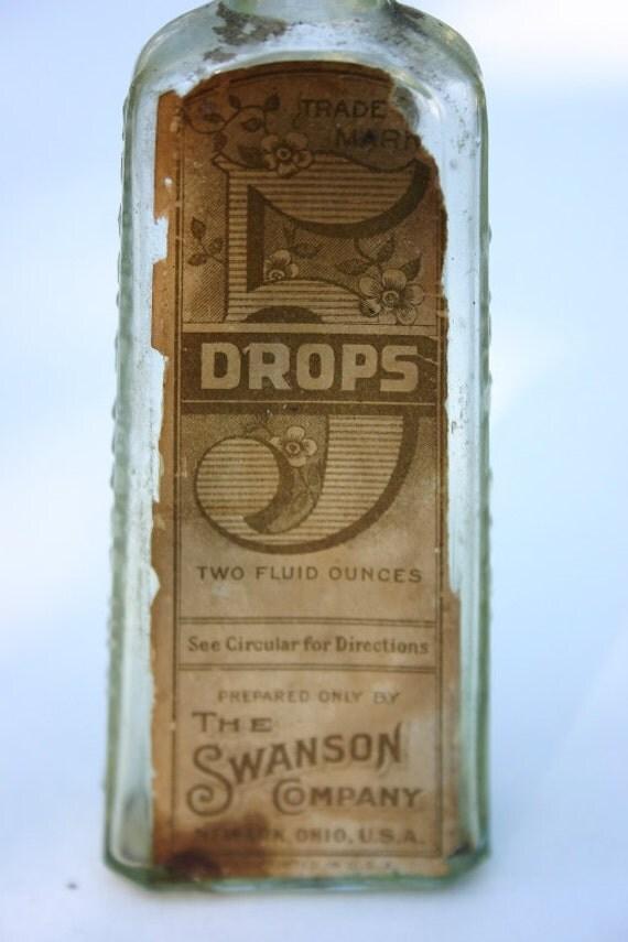 5 Drops, Swanson Company, Vintage Glass Bottle, Medicine Bottle