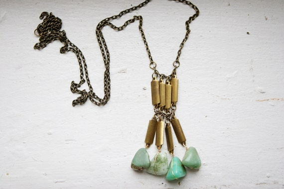 Chrysoprase and Vintage Brass Grid Necklace
