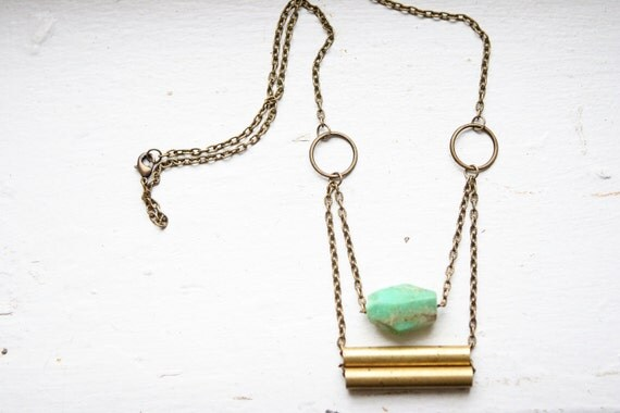 Faceted Chrysoprase Necklace with Vintage Brass Tubes