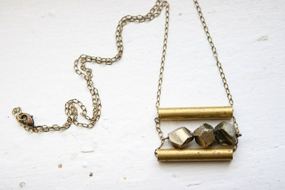 Faceted Peruvian Pyrite Necklace with Vintage Brass Tubes