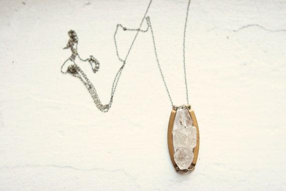 Herkimer Diamond and Vintage Brass Necklace
