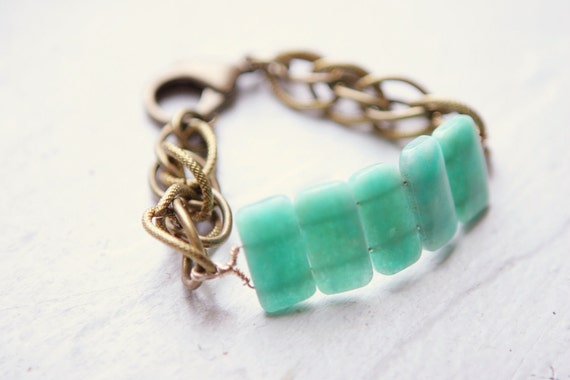 Brazilian Amazonite and Vintage Link Bracelet