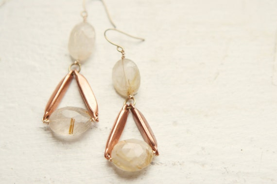 Rutilated Quartz and Vintage Copper Accent Earrings