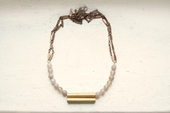 Grey Onyx and Vintage Brass Necklace