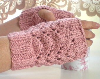 Pink Organic Cotton Fingerless Gloves