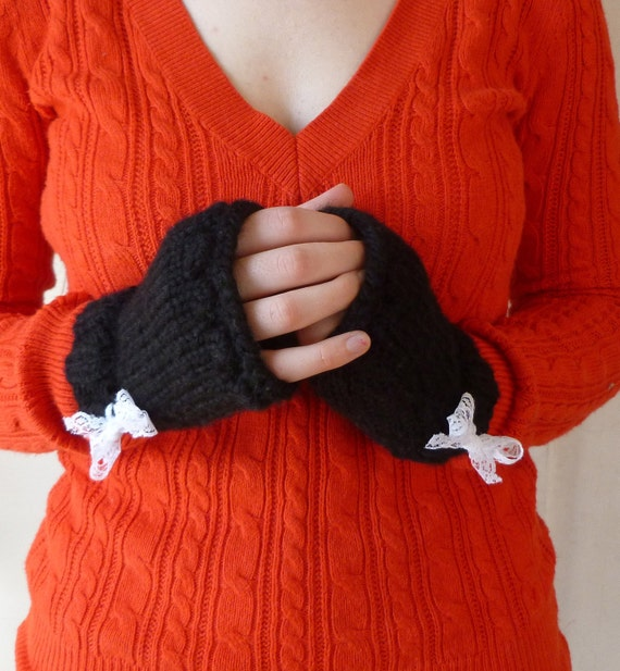 Black Toasty Wool Wrist Cozies - OOAK