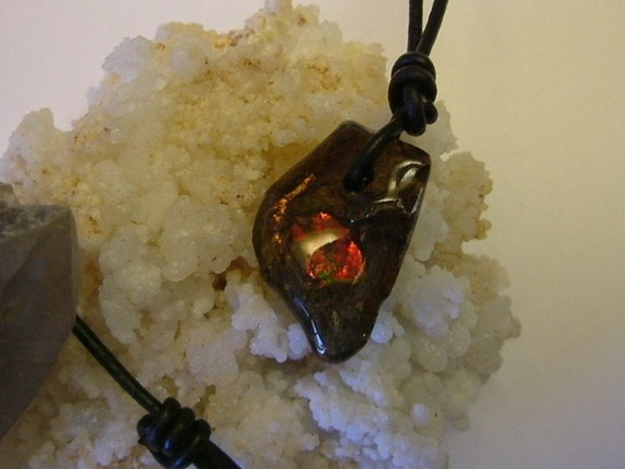 """Bright Red and Green Ammolite Found in Utah Deposit, Mens Necklace with Attached 26"""" Adjusable Black Synthetic Cord 100"""