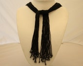 SCARF in micro black glass beads HANDMADE