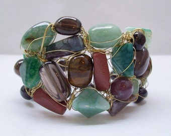 BRACELET with gemstones and sterling silver wire HANDMADE