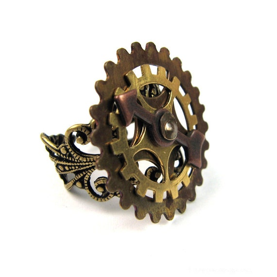 Steampunk Ring (Mixed Metal Gears)