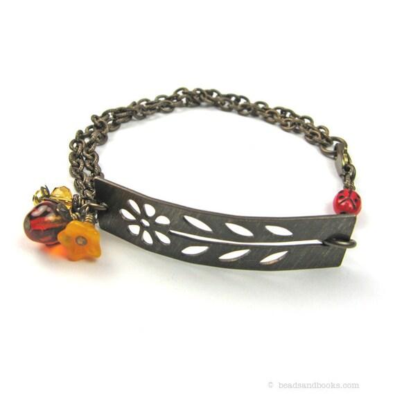 Garden Jewelry (Boho Bracelet with Tangerine Flowers)