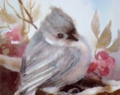 Titmouse Art Print Of Watercolor Painting