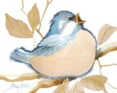 Blue Bird Art Print - Whimsical Watercolor Painting
