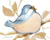Blue Bird Art Print - Whimsical Watercolor Bird