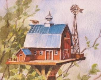 Bird House Barn, Country Decor, Watercolor Print