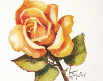 Yellow Rose Watercolor Painting Art Print