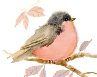 Pastel Pink Bird Print - Watercolor Painting