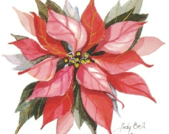 Poinsettia Wall Decor,Watercolor Print, Christmas Art
