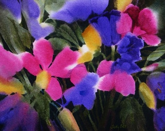 Flower Garden Bold Colorful Watercolor Painting