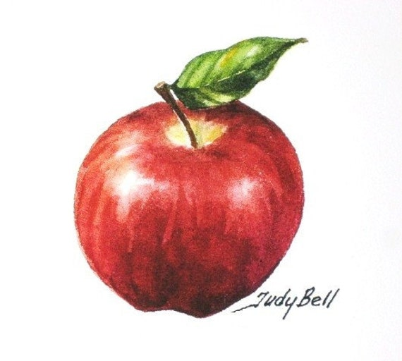 Red Apple Fruit Print Watercolor Painting Small Gift