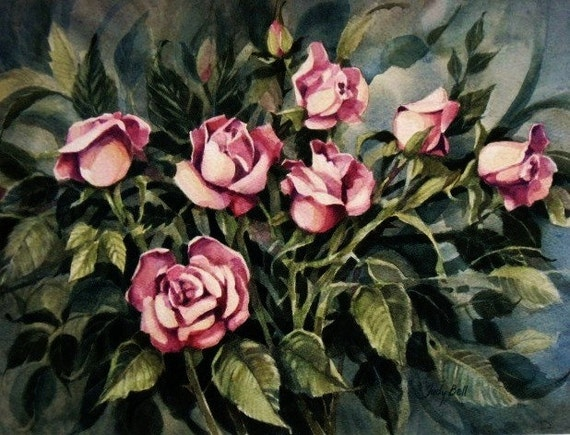 Garden Of Pink Roses Watercolor Painting