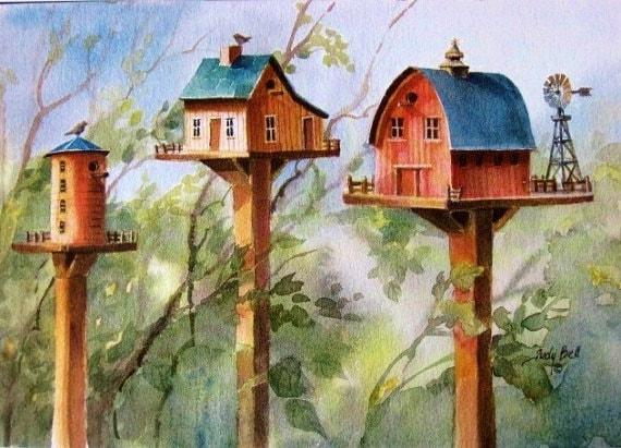 Bird House Print, Farm Bird House, Watercolor Wall Art