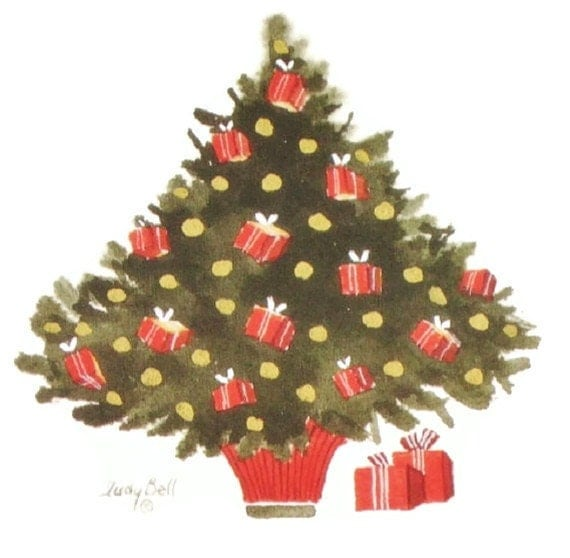 Watercolour Christmas Tree: Christmas Tree Art Print Watercolor Painting Holiday Decor