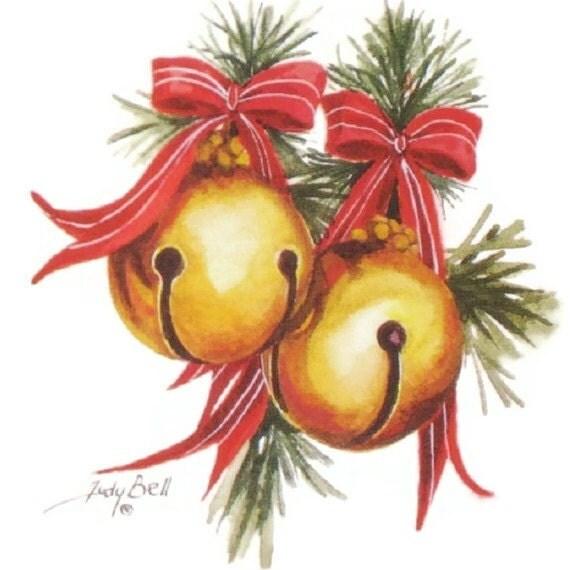 Sleigh bells print watercolor painting jingle art