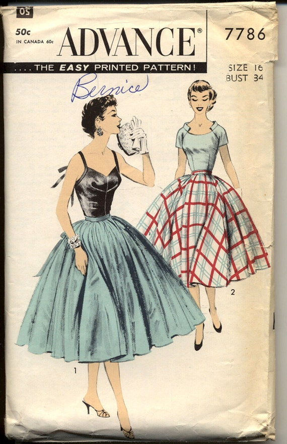 Advance 7786 Misses 1950s Full Skirt Evening Dress Camisole or Short Sleeve Tops Womens Vintage Sewing Pattern Bust 34 UNCUT