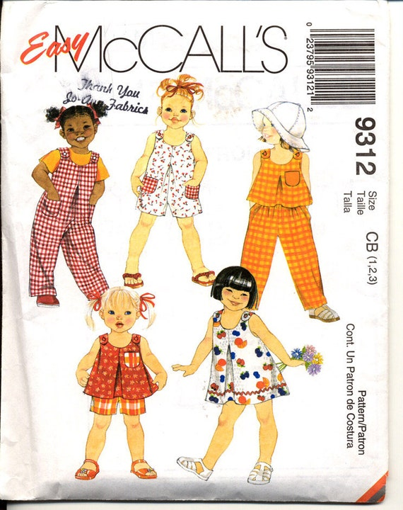 McCalls 9312 Easy Toddlers Dress Top Jumpsuit Rompers Pull On Pants and Shorts Childrens Sewing Pattern Breast 20 to 22 UNCUT