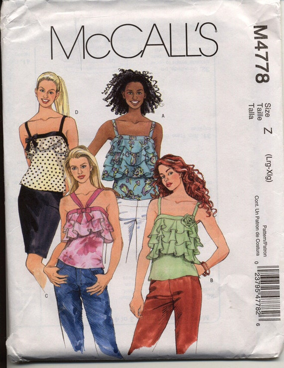 McCalls M4778 Misses Strappy Pullover Tops Layered Flounce Fabric Rosette Flower and Bow Trims Womens OOP Sewing Pattern Bust 38 - 44