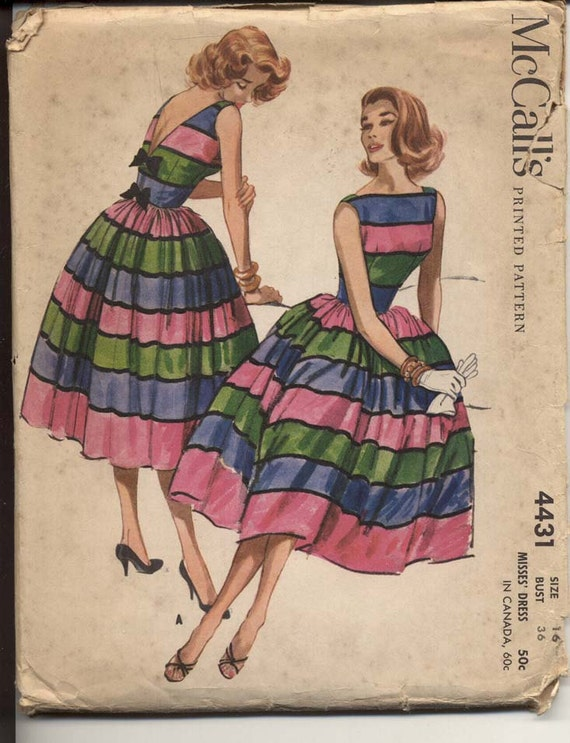 McCalls 4431 Misses 1950's Dress Pattern Full Skirt Bateau Neck Sleeveless V Back with Bow Trim Womens Vintage Sewing Pattern Bust 36 UNCUT