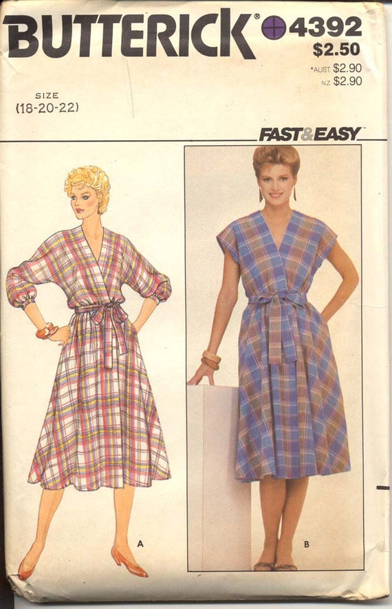 Butterick 4392 Misses Wrap Dress Pattern 1980s Fast & Easy Dolman Sleeve Two Lengths V Neck Womens Vintage Sewing Pattern Bust 40 - 44 UNCUT