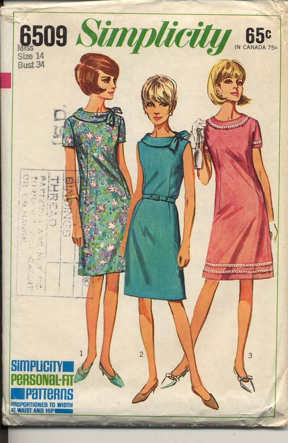 Simplicity 6509 Misses 1960s Shift Dress Pattern Bias Roll Collar Bow Trim Sleeve and Neck Variations Womens Vintage Sewing Pattern Bust 34