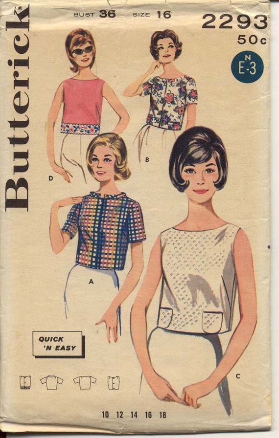 Butterick 2293 Misses 1960s Crop Top Pattern Front or Back Button, Neck Sleeve and Trim Variations Mod Womens Vintage Sewing Pattern Bust 36