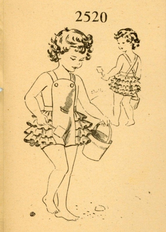 Mail Order 2520 Toddler 1940s Sunsuit Pattern Ruffled Panties Criss Cross Straps Childrens Vintage Mail Order Sewing Pattern Breast 21 UNCUT