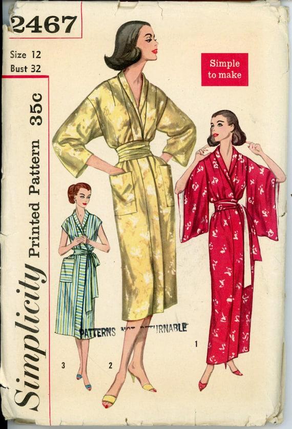 Simplicity 2467 Misses 1950s Kimono And Obi Robe Pattern