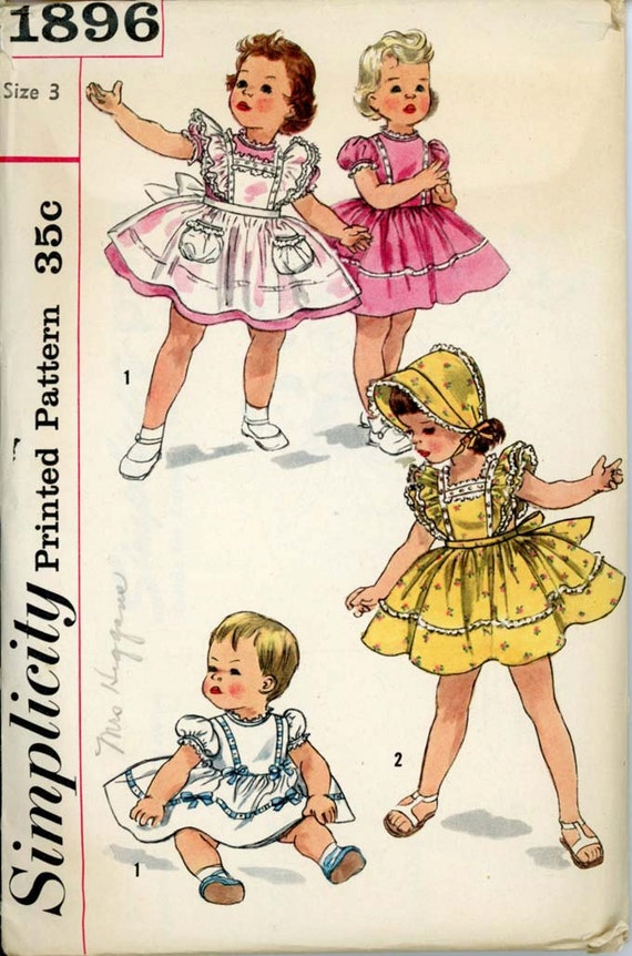Simplicity 1896 Toddlers 1950s Pinafore Sundress Pattern and Bonnet Full Skirt Sash Ruffles Childrens Vintage Sewing Pattern Breast 22 UNCUT