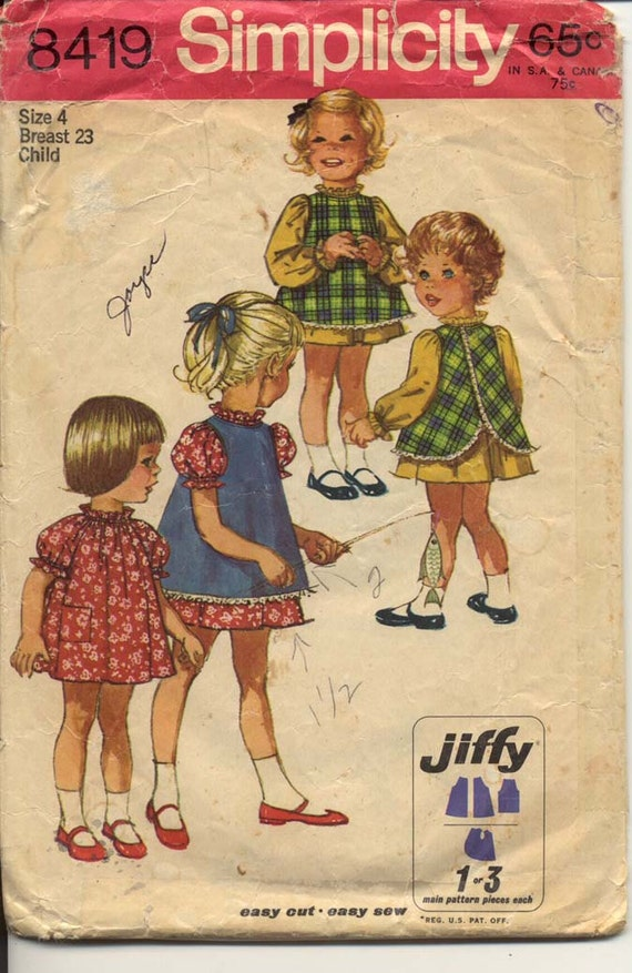 Simplicity 8419 Girls 1960s Dress and Pinafore Pattern Ruffled Neck & Raglan Sleeves in 2 Lengths Childrens Vintage Sewing Pattern Breast 23